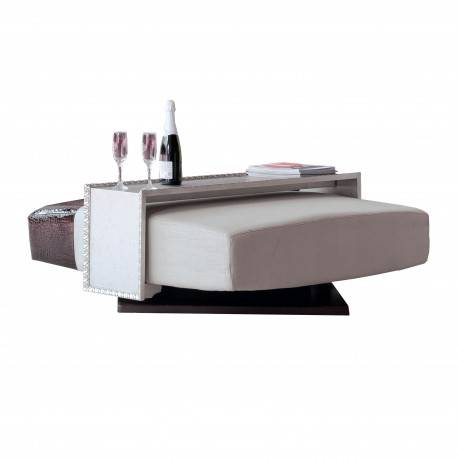 Mesa de centro giratoria moderna, color: marrón - plata