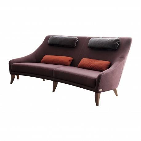 Sofá retro tapizado cuero, color: chocolate