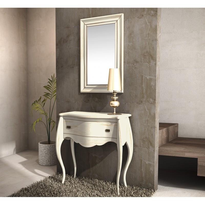 Recibidor vintage con espejo y caj n blanco roto mobles for Espejo recibidor blanco