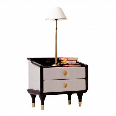 Mesita de noche moderna tapizada, color: marrón y oro