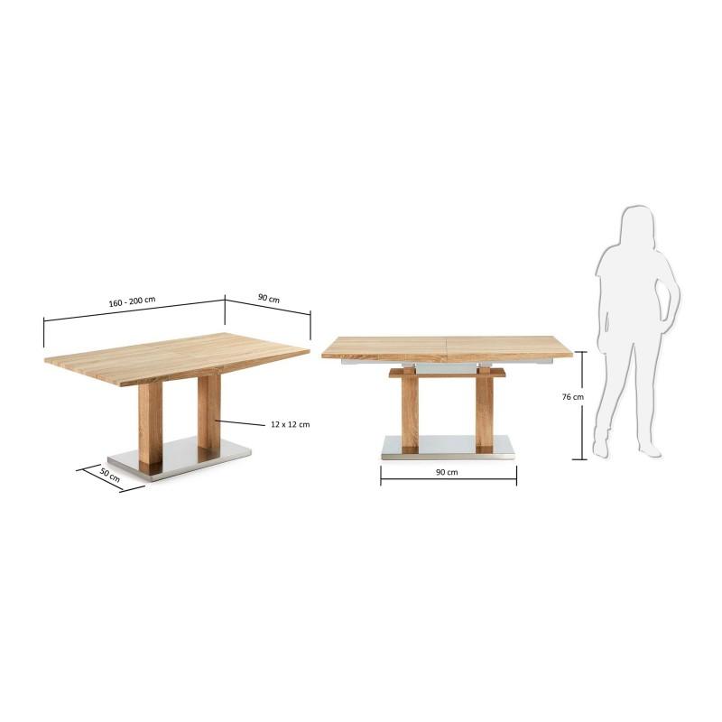 Mesa de comedor extensible moderna color roble blanco - Mesas comedor modernas extensibles ...