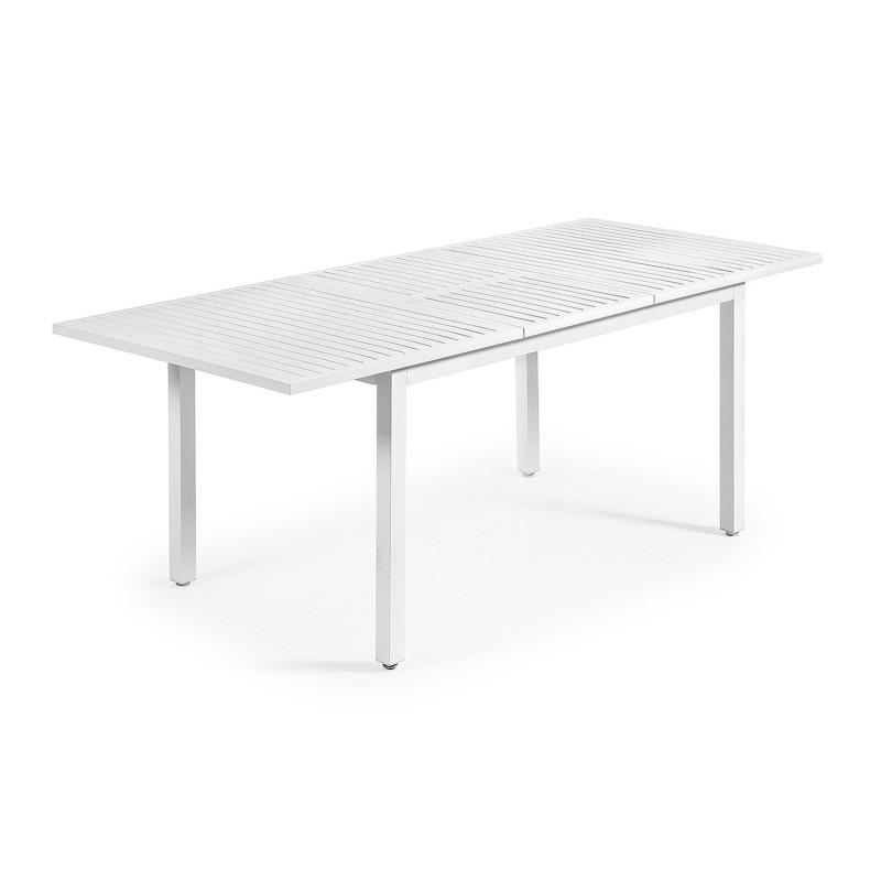 Mesa de exterior extensible en aluminio color blanco - Mesas para exterior ...