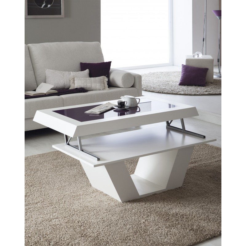 Mesa de centro moderna elevable color blanco muambi for Mesas de salon modernas