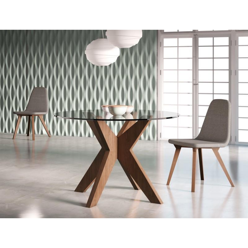 Mesa de comedor moderna con tapa de cristal color nogal - Mesas modernas de cristal ...