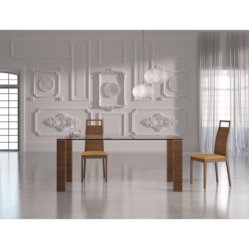 Silla de comedor moderna 44x48x100 cm color nogal muambi for Muebles sillas comedor modernas