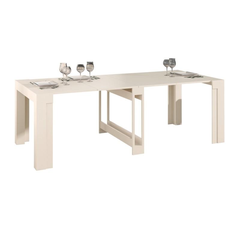 Mesa de comedor extensible moderna color crema muambi - Mesa comedor moderna ...