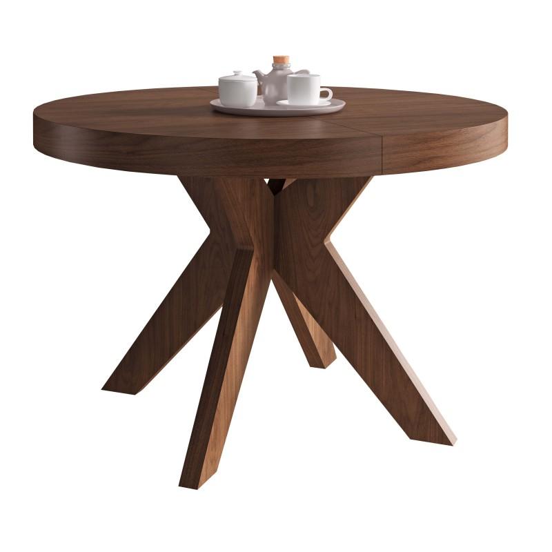 Mesa de comedor moderna con tapa de cristal color nogal for Mesa extensible moderna