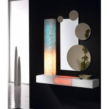 Recibidor moderno con espejo, color: blanco - rojo