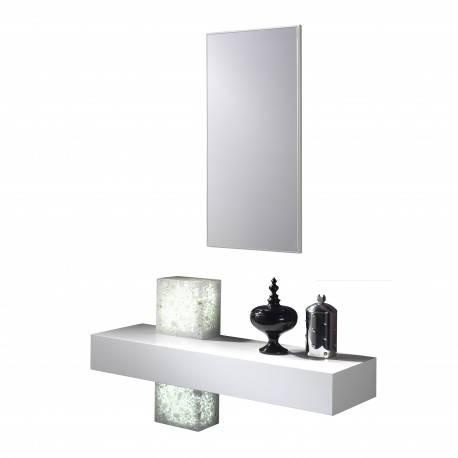 Recibidor moderno con espejo, color: blanco - hielo