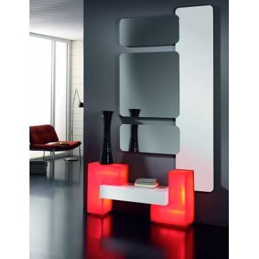 Recibidor moderno con espejos, color: blanco - rojo