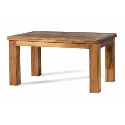 Mesa de comedor extensible rústica, acabado: teñido y encerado
