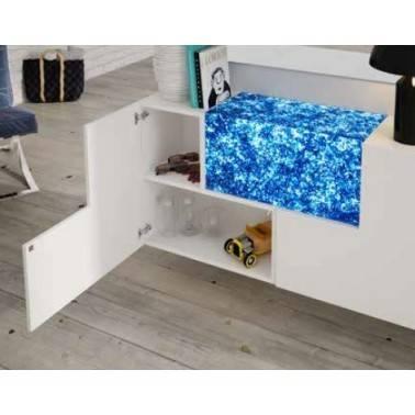 Recibidor moderno con espejo, color: blanco - azul