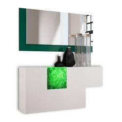 Recibidor moderno con espejo, color: blanco - verde