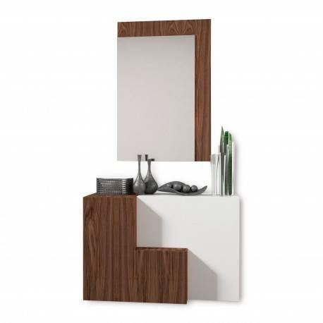 Recibidor moderno con espejo color blanco nogal muambi - Recibidor moderno blanco ...