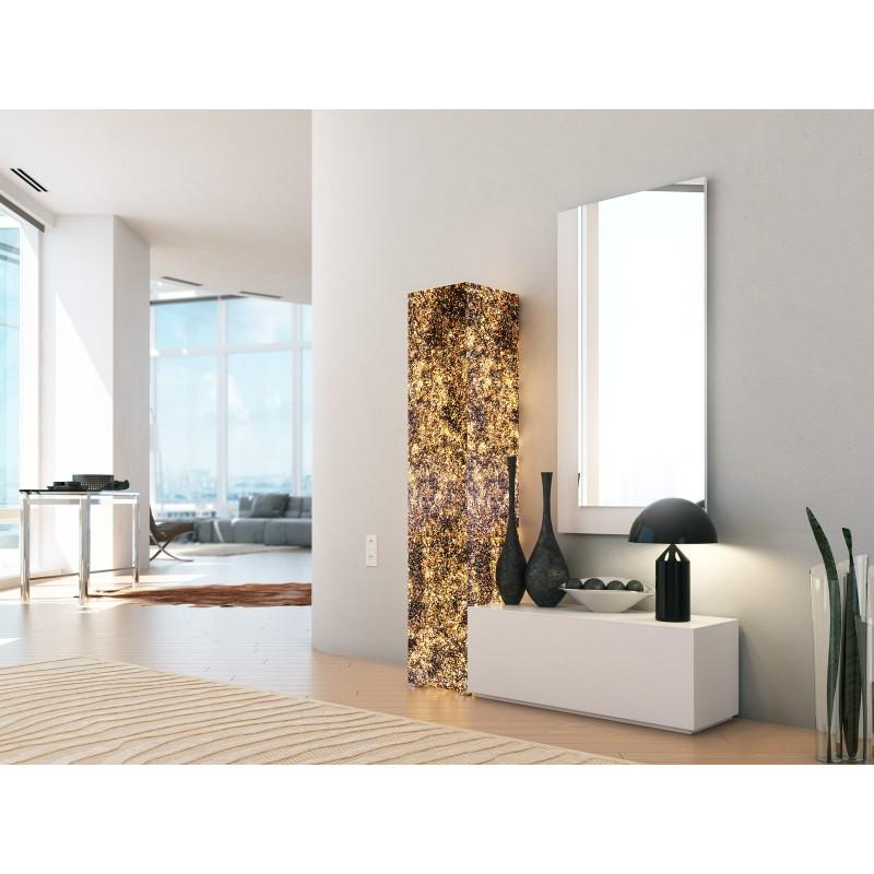 Recibidor moderno con columna y espejo color blanco for Espejo recibidor blanco