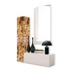 Recibidor moderno con columna y espejo, color: blanco - ambar
