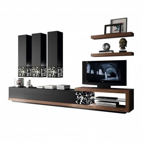 Composición de salón minimalista, color: negro mate - nogal americano