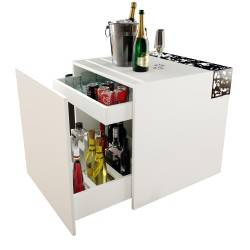 Mueble bar moderno, color: blanco - masintex negro