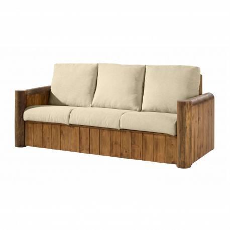 Sofa 3 plazas rústico, acabado: teñido y encerado