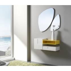 Recibidor moderno con espejos giratorios, color: blanco - amarillo
