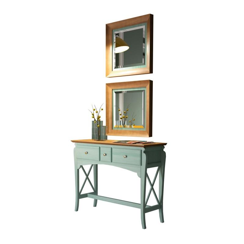 Recibidor cl sico con marco espejo color verde agua - Muebles de recibidor clasicos ...