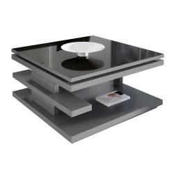 Mesa de centro moderna elevable 90 x 90 x 45, color: plomo-cristal negro