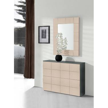 Recibidor zapatero moderno con espejo, color: grafito-ártico