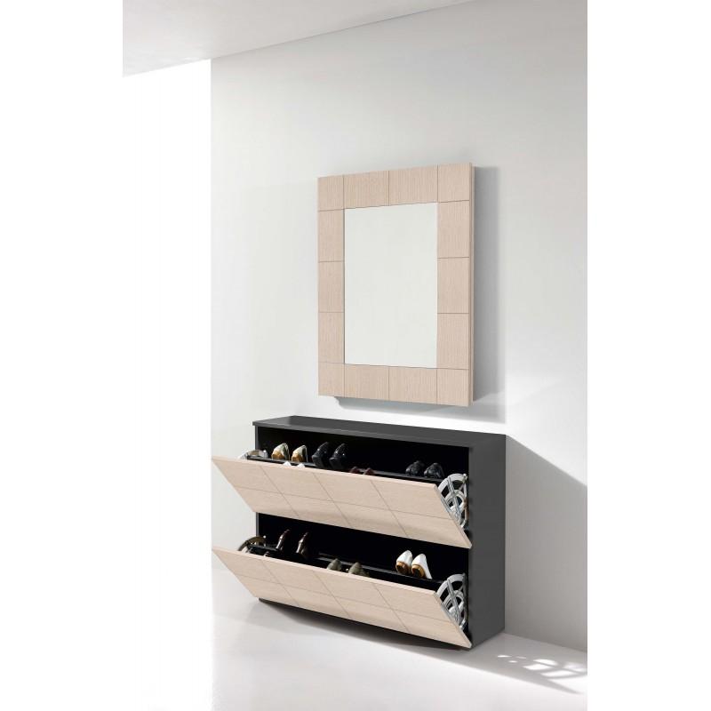 Recibidor zapatero moderno con espejo color grafito - Zapatero recibidor moderno ...