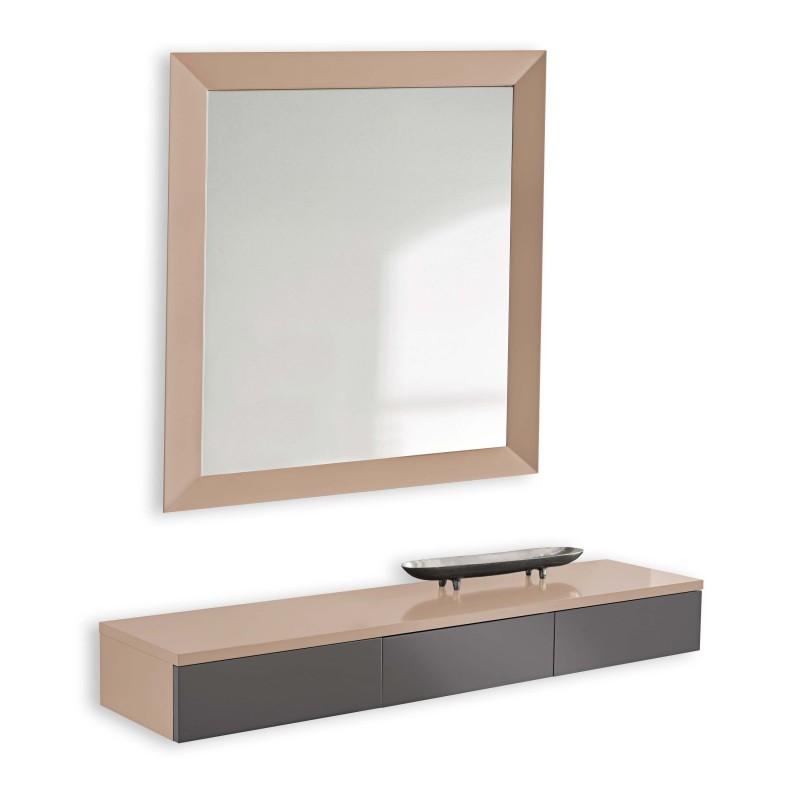 Recibidor moderno con espejo color almendra plomo muambi - Espejos recibidores modernos ...