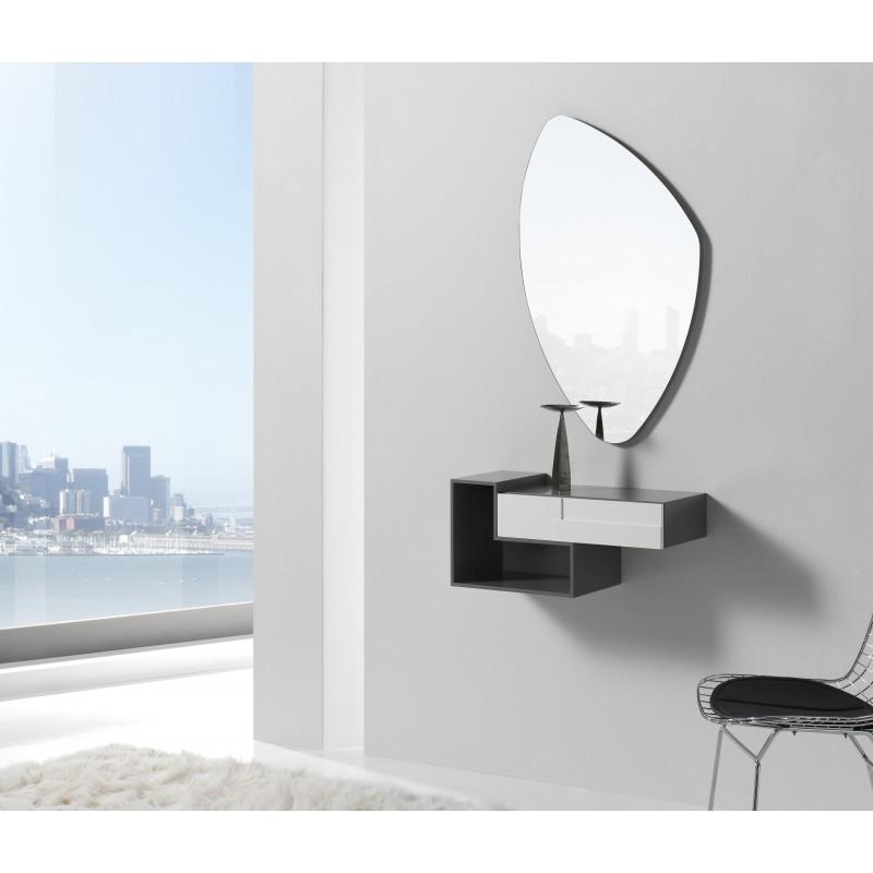 Recibidor moderno con espejo giratorio cinza blanco for Espejo recibidor blanco