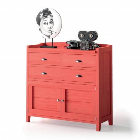 Aparador verona, 102x98x40cm, color: rojo