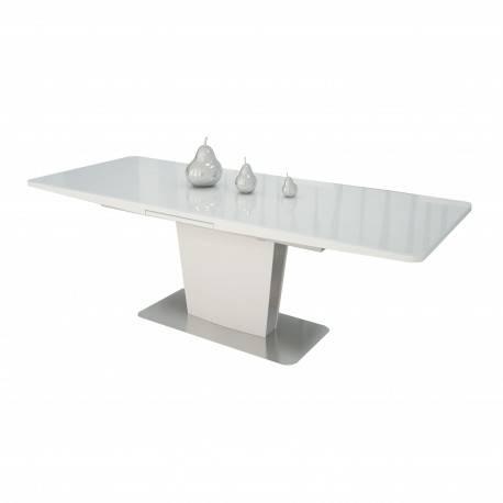 Mesa De Comedor Extensible Moderna Con Cristal Blanco Muambi