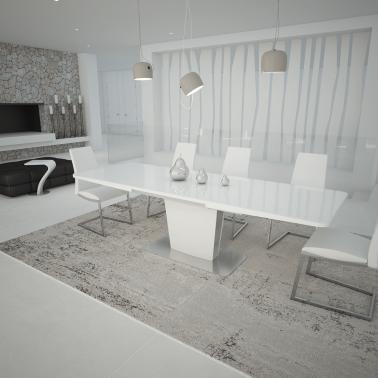 Mesa de comedor extensible moderna con cristal blanco